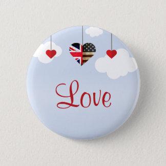 Bóton Redondo 5.08cm Casamento real dos corações americanos britânicos