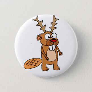 Bóton Redondo 5.08cm Castor engraçado com arte do Natal dos Antlers da