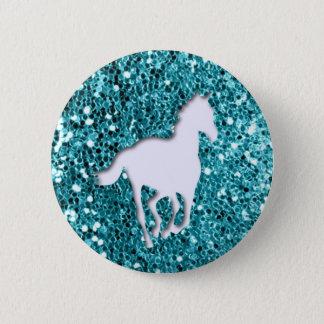 Bóton Redondo 5.08cm Cavalo branco no olhar do brilho do Aqua