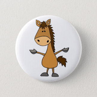 Bóton Redondo 5.08cm Cavalo de baía engraçado dos desenhos animados