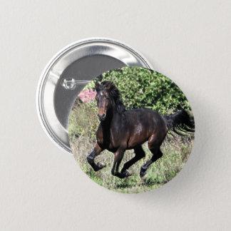 Bóton Redondo 5.08cm Cavalo de galope da castanha