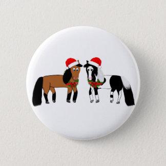 Bóton Redondo 5.08cm Cavalos do Natal