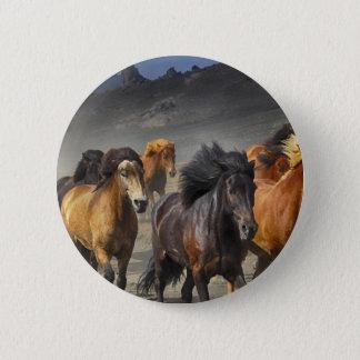 Bóton Redondo 5.08cm Cavalos selvagens