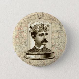 Bóton Redondo 5.08cm Cérebro do maquinismo de relojoaria do steampunk