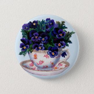 Bóton Redondo 5.08cm Chá retro do Teacup floral do vintage e botão das