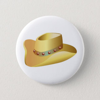 Bóton Redondo 5.08cm Chapéu de vaqueiro branco