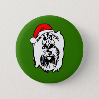Bóton Redondo 5.08cm Chapéu do papai noel do Natal do cão do yorkshire