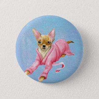 Bóton Redondo 5.08cm Chihuahua em um botão redondo do cão do Bathrobe