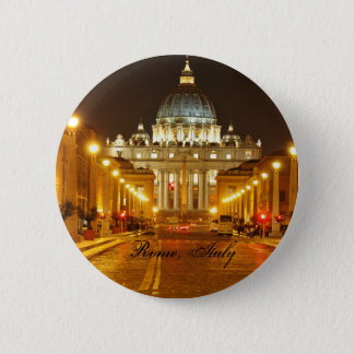 Bóton Redondo 5.08cm Cidade do Vaticano, Roma, Italia na noite