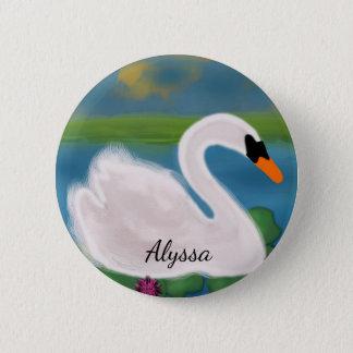 Bóton Redondo 5.08cm Cisne branca personalizada na lagoa no botão do