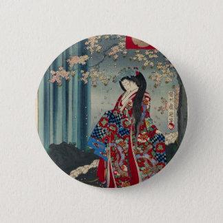 Bóton Redondo 5.08cm Clássico legal da arte japonesa da senhora Japão