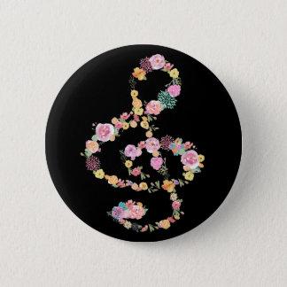 Bóton Redondo 5.08cm clef de triplo floral da música no preto