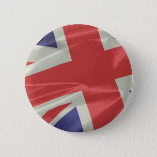 Bóton Redondo 5.08cm Close up de seda da bandeira de Union Jack