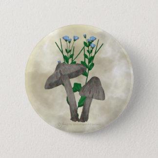 Bóton Redondo 5.08cm Cogumelos e botão cinzentos do linho