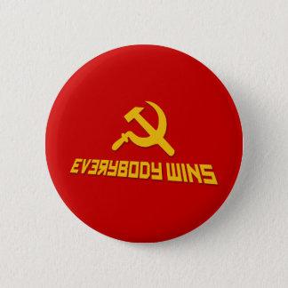 Bóton Redondo 5.08cm Com socialismo todos ganha! Sátira do governo