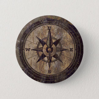 Bóton Redondo 5.08cm Compasso de Brown do vintage