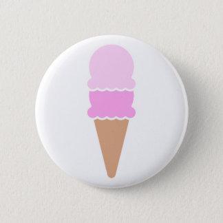 Bóton Redondo 5.08cm Cone dobro do sorvete da colher - rosa