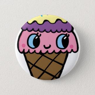 Bóton Redondo 5.08cm Cone feliz do sorvete