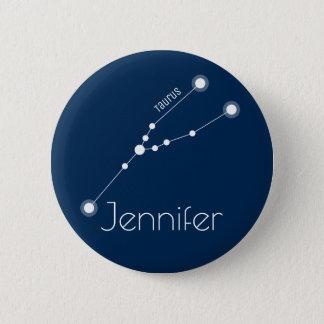 Bóton Redondo 5.08cm Constelação personalizada do zodíaco do Taurus