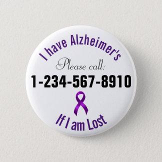 Bóton Redondo 5.08cm Contato da emergência de Alzheimers