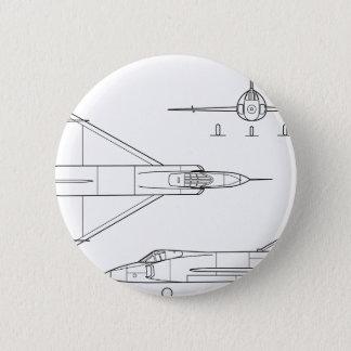 Bóton Redondo 5.08cm Convair_YF-102_Delta_Dagger_3-view