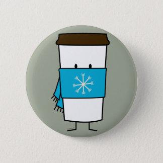 Bóton Redondo 5.08cm Copo de café feliz que veste um lenço