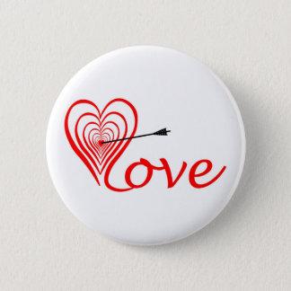 Bóton Redondo 5.08cm Coração amor alvo com seta