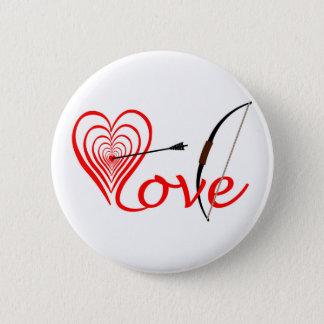 Bóton Redondo 5.08cm Coração amor alvo com seta e arco