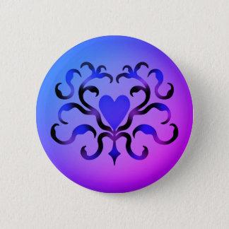 Bóton Redondo 5.08cm Coração azul bonito
