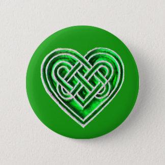 Bóton Redondo 5.08cm Coração celta verde - o irlandês inspirou o Pin do