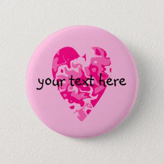 Bóton Redondo 5.08cm Coração cor-de-rosa do dia dos namorados