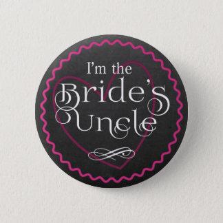 Bóton Redondo 5.08cm Coração cor-de-rosa do quadro que Wedding o tio da