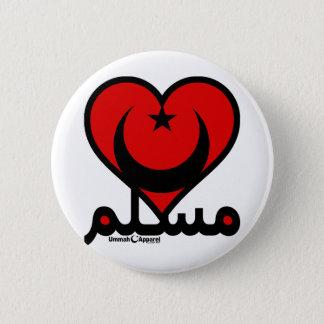 Bóton Redondo 5.08cm Coração muçulmano