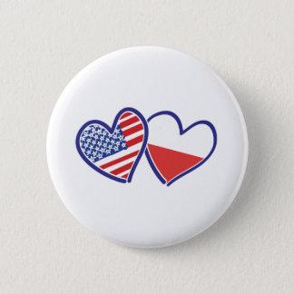 Bóton Redondo 5.08cm Corações da bandeira do Polônia dos EUA