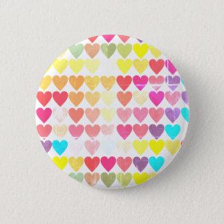Bóton Redondo 5.08cm Corações da cor do arco-íris All Over