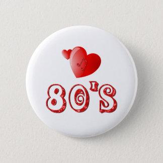 Bóton Redondo 5.08cm corações do anos 80