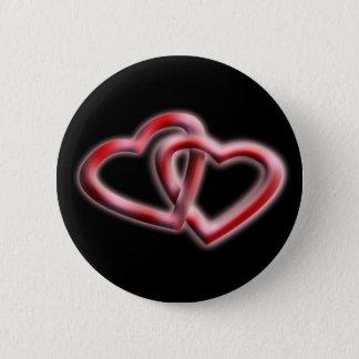 Bóton Redondo 5.08cm Corações do botão dois do amor entrelaçados para