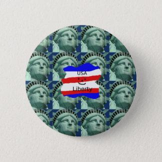 Bóton Redondo 5.08cm Cores da bandeira dos EUA com estátua da liberdade