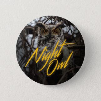 Bóton Redondo 5.08cm Coruja de noite - botão retro do estilo