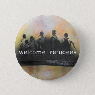 Bóton Redondo 5.08cm Crachá bem-vindo dos refugiados
