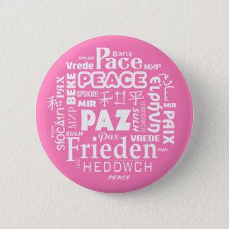Bóton Redondo 5.08cm Crachá cor-de-rosa multilíngue da paz
