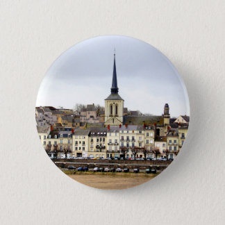 Bóton Redondo 5.08cm Crachá da cena do banco de rio de Saumur