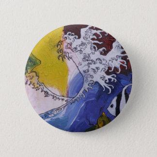 Bóton Redondo 5.08cm Crachá de uma pintura inspirada por Hokusai