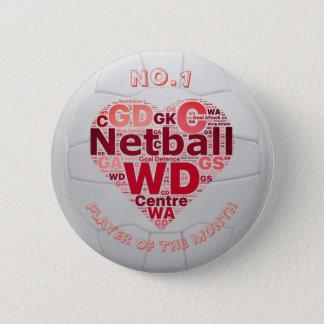 Bóton Redondo 5.08cm Crachá do Pin da recompensa do jogador do Netball
