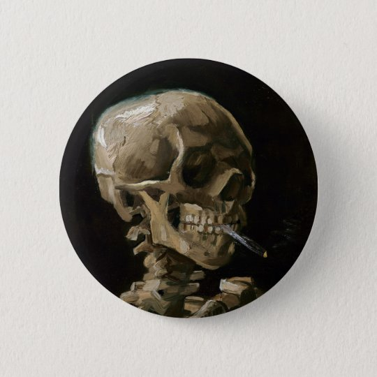 Bóton Redondo 5.08cm Crânio com arte ardente de Vincent van Gogh do