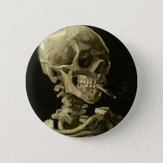 Bóton Redondo 5.08cm Crânio com o cigarro por Van Gogh