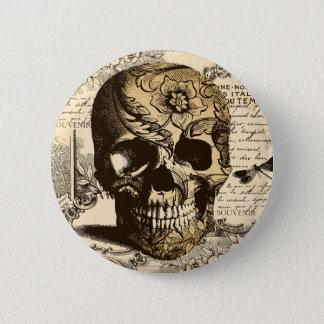 Bóton Redondo 5.08cm Crânio do vintage