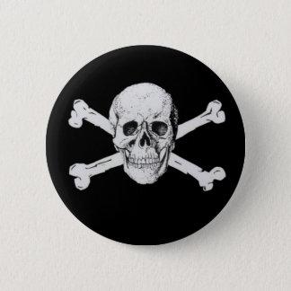Bóton Redondo 5.08cm Crânio preto e Crossbones do pirata