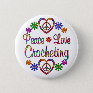 Bóton Redondo 5.08cm Crocheting colorido do amor da paz