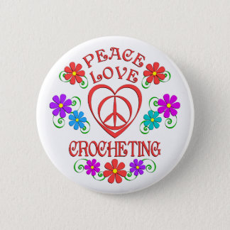 Bóton Redondo 5.08cm Crocheting do amor da paz
